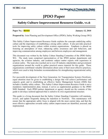 Safety Culture Improvement Resource Guide v1.6 - Joint Planning ...