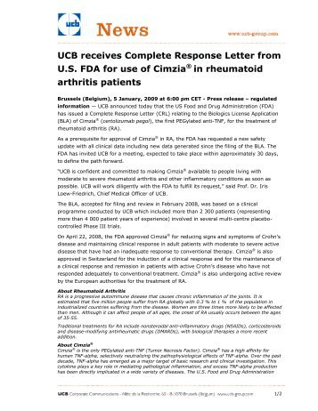 complete response letter giving and receiving hospitality about us 20931 | ucb receives complete response letter from us fda for use of