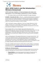 2011 UCB Crohn's and Me Scholarship™ Winners Announced
