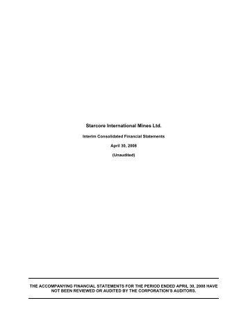 View FS - Starcore International Mines Ltd.