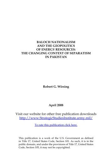 Baloch Nationalism and the Geopolitics of Energy ... - Arz-e-Pak