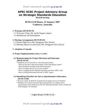 Draft Annotated Agenda (as of Jan 19) - APEC Standards Education ...
