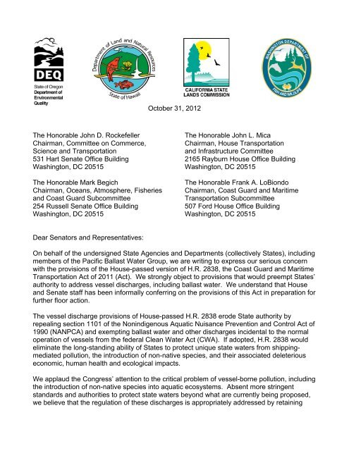 Federal letter HR 2838 FINAL 10-31-12 pdf - Scoping Comments