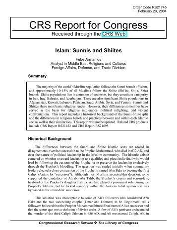 Islam: Sunnis and Shiites - University of Maryland School of Law