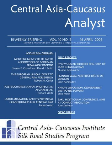 The Central Asia-Caucasus Analyst