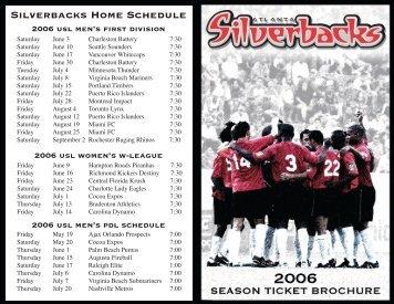 Silverbacks Home Schedule - Atlanta Silverbacks
