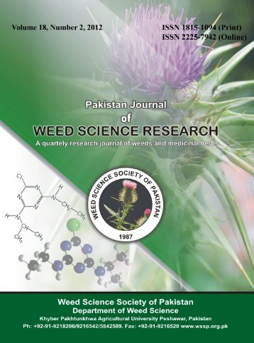 Pak. J. Weed Sci. Res. 18(2): 167-181, 2012 - Wssp.org.pk