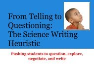 From Telling to Questioning: The Science Writing Heuristic