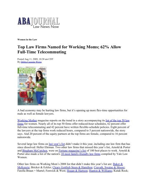 Top Law Firms Named for Working Moms - Flex-Time Lawyers