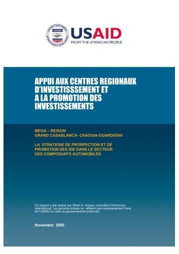 appui aux centres regionaux d'investisssement et a la promotion des ...