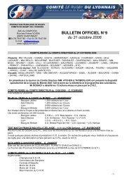 BULLETIN OFFICIEL N°9 du 31 octobre 2006 - Arcol Rugby