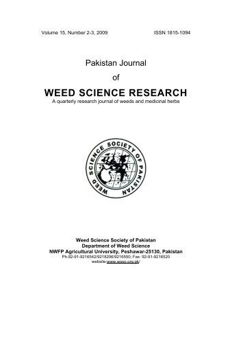 WEED SCIENCE RESEARCH - Wssp.org.pk
