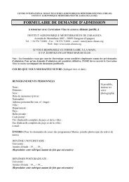FORMULAIRE DE DEMANDE D'ADMISSION - Iresa