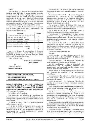 Journal Officiel de la République Tunisienne e 28 mars 2003 ... - Iresa