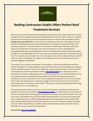 Roofing Contractors Dublin Offers Perfect Roof Treatment Services