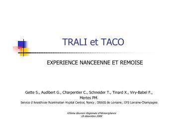 TRALI et TACO - Coordonnateurs Régionaux d'Hémovigilance