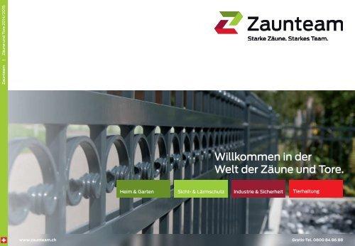 Zaunteam Hauptkatalog Zäune und Tore Schweiz