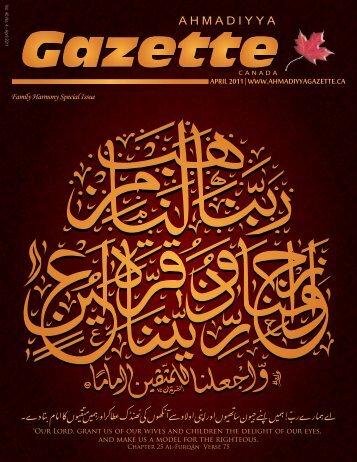A H M A D I Y Y A A H M A D I Y Y A - Ahmadiyya Gazette Canada