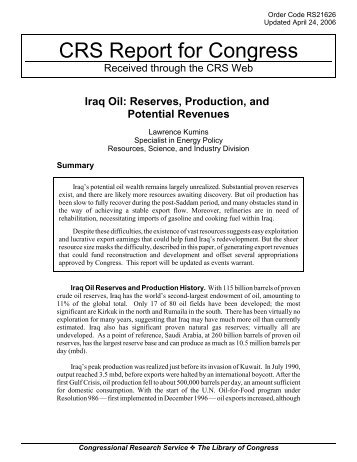 Iraq Oil: Reserves, Production, and Potential Revenues