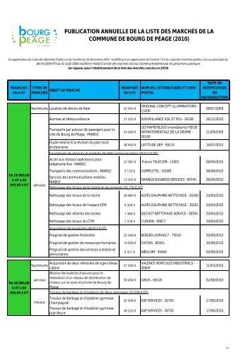 2010 - Liste des marches conclus (PDF) - Ville de Bourg de Péage