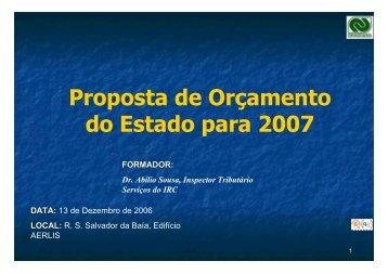 Proposta de Orçamento do Estado para 2007 - APIRAC