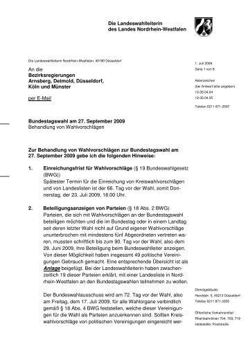 Information der Landeswahlleiterin zur Behandlung von ...