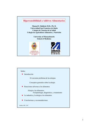 Hipersensibilidad a Aditivos Alimentarios