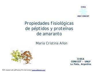 Propiedades fisiológicas de péptidos y proteínas de amaranto