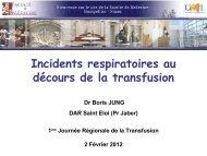 Incidents Respiratoires et Transfusion