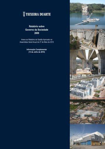 Relatório sobre Governo da Sociedade 2009 - Teixeira Duarte