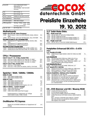 Preisliste Einzelteile 3. 5. 2011 - cocox datentechnik GmbH