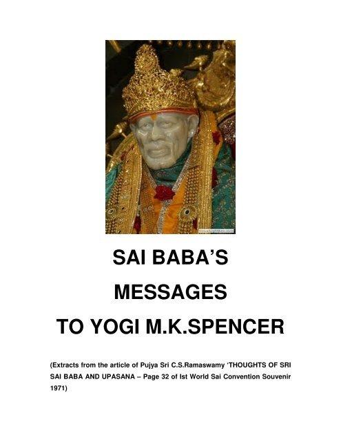 sai baba's messages to yogi mkspencer - SaiLeelas