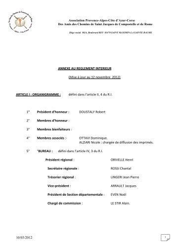 10/03/2012 ANNEXE AU REGLEMENT INTERIEUR (Mise à jour au ...