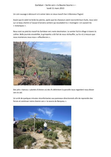 Garlaban – Sortie vers « la Baume Sourne » – lundi 11 mars 2013