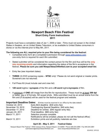 Independent Short Film Competition Entry Form (pdf) - Cine Gear Expo
