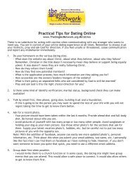 Practical Tips for Dating Online - The Singles Network Ministries