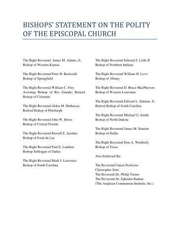 bishops - Anglican Communion Institute