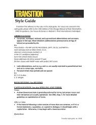 Transition style guide - W.E.B Du Bois Institute - Harvard University
