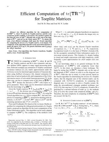 for toeplitz matrices - IEEE Xplore