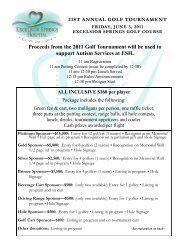 Proceeds from the 2011 Golf Tournament will be ... - Excelsior Springs