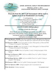 Proceeds from the 2012 Golf Tournament will be ... - Excelsior Springs