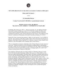 download pdf of press release - WEB Du Bois Institute - Harvard ...