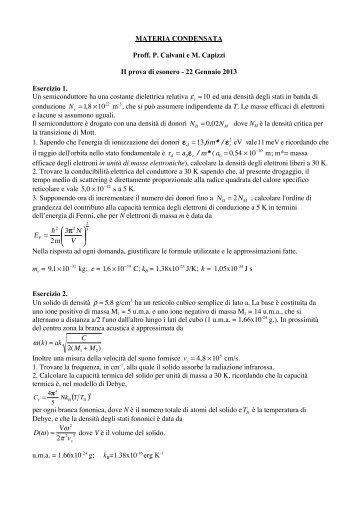 Testo e soluzioni della prova scritta del 22
