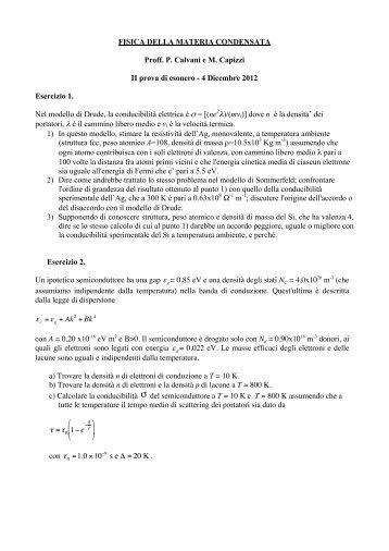 Testo e soluzioni della prova scritta del 04 - 12 - Dipartimento di Fisica