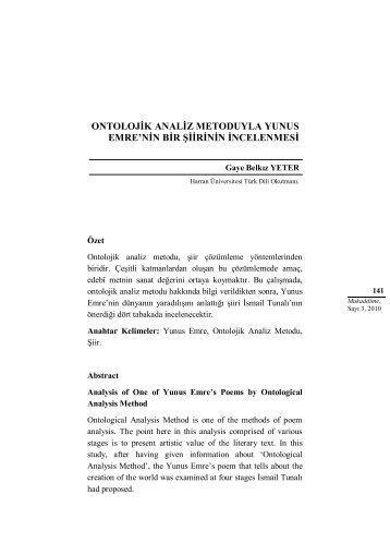 ontolojik analiz metoduyla yunus emre'nin bir şiirinin incelenmesi
