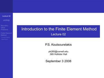 Introduction to the Finite Element Method - Lecture 02