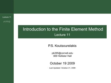 Introduction to the Finite Element Method - Lecture 11