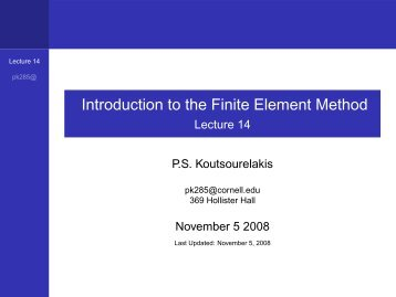 Introduction to the Finite Element Method - Lecture 14