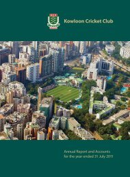 Vice President's Report - The Kowloon Cricket Club