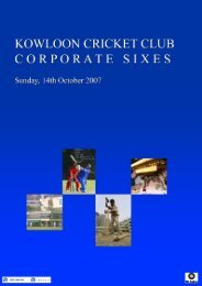 KCC Corporate Sixes.psd - The Kowloon Cricket Club